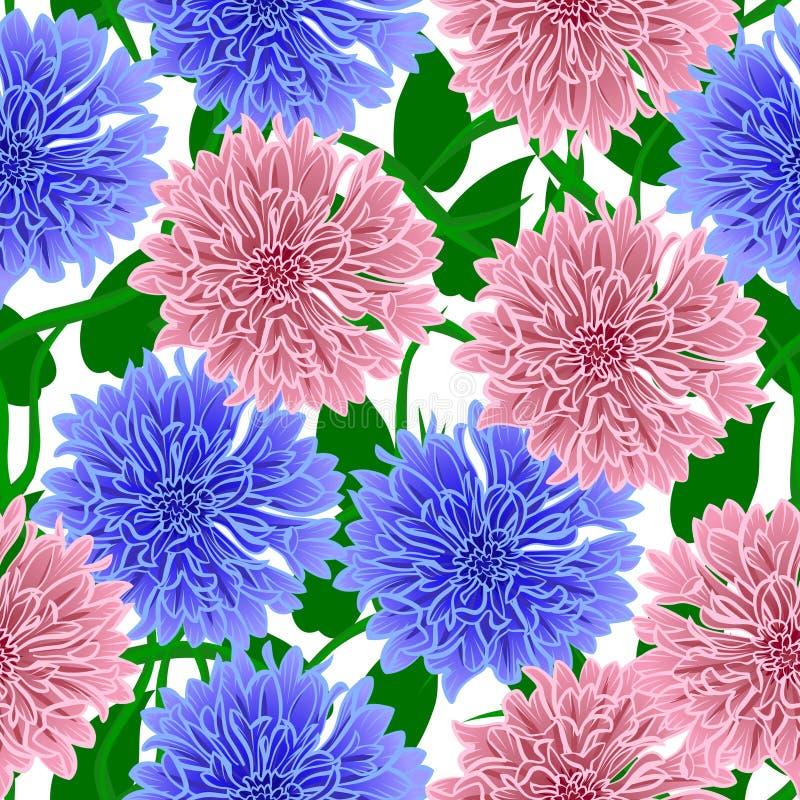 Bezszwowy wz?r z b??kita i menchii kwiatami ilustracji