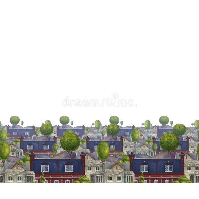 Bezszwowy wz?r z dachami domy Stary bajecznie Angielski miasteczko kolorowa książkowa ilustracja ilustracja wektor