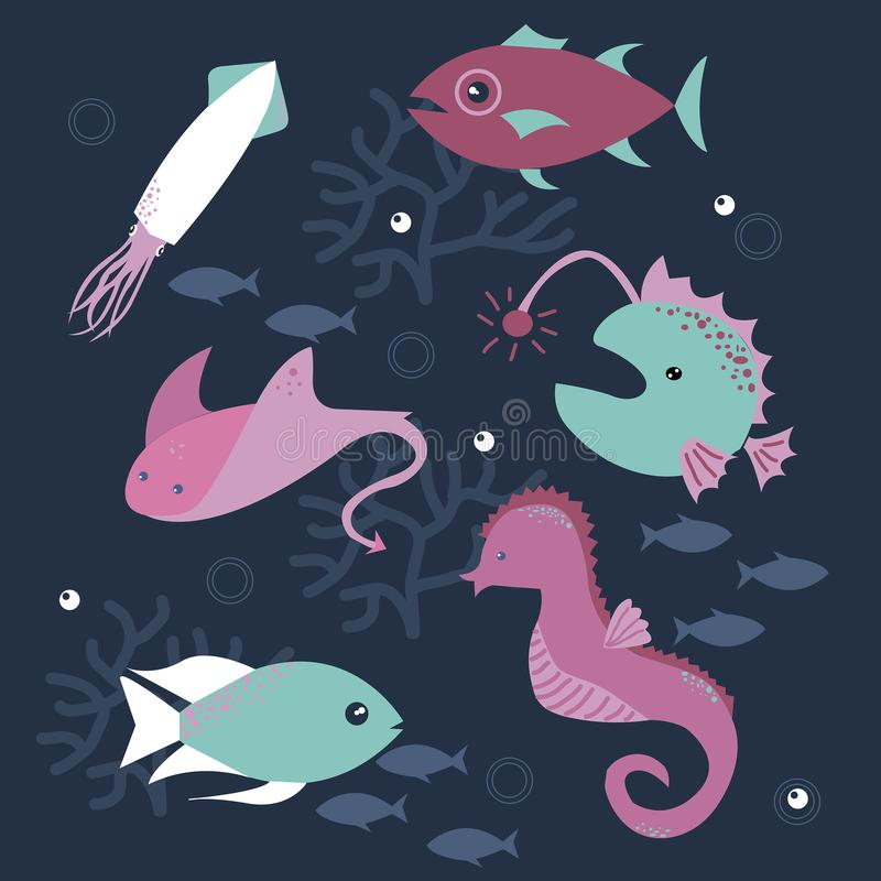 Bezszwowy wz?r z dennymi ryba royalty ilustracja