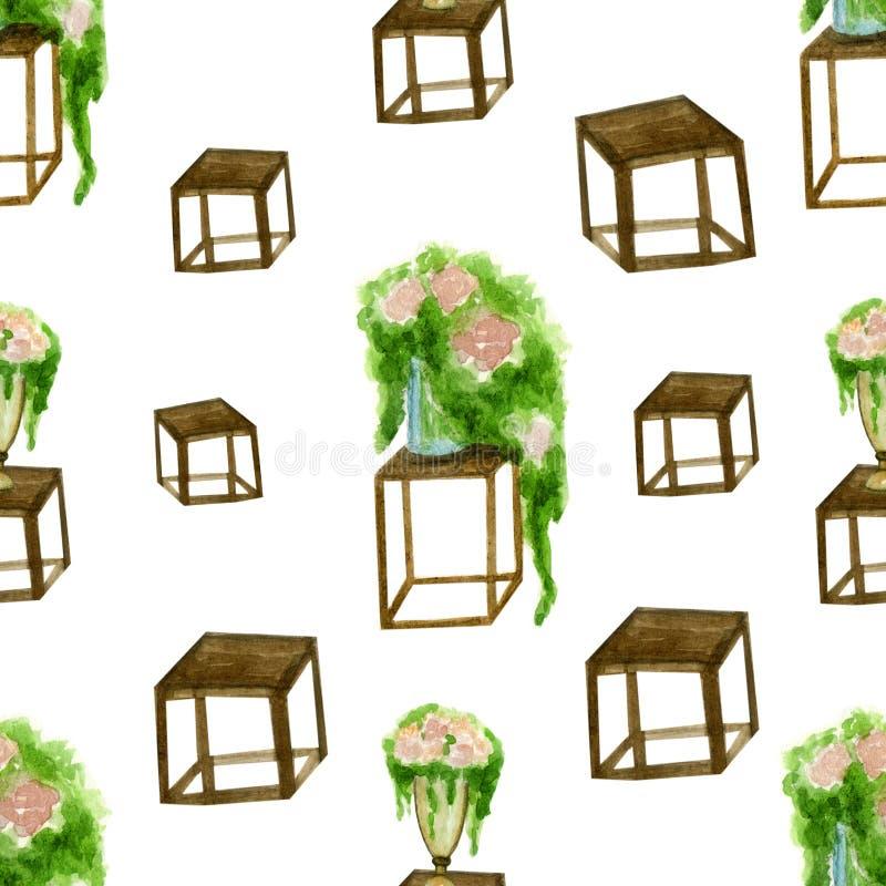 Bezszwowy wz?r z doodle zieleni flowerpots R?ka rysuj?ca akwareli ilustracja ilustracja wektor