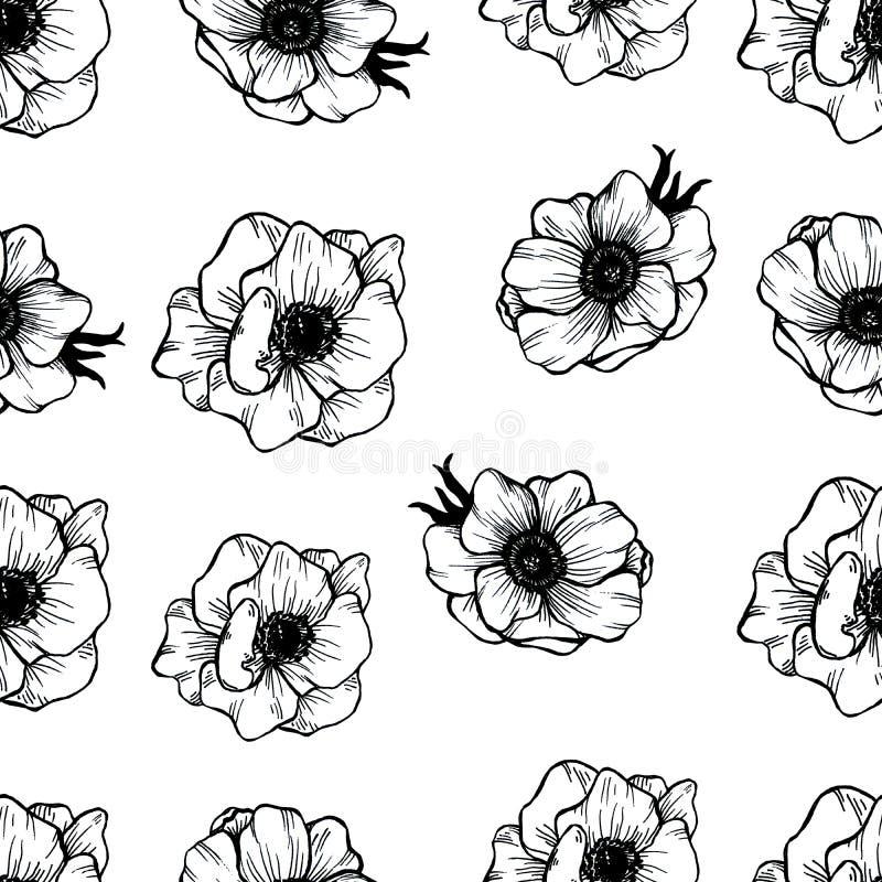 Bezszwowy wz?r z doodle zieleni flowerpots R?ka rysuj?ca akwareli ilustracja royalty ilustracja