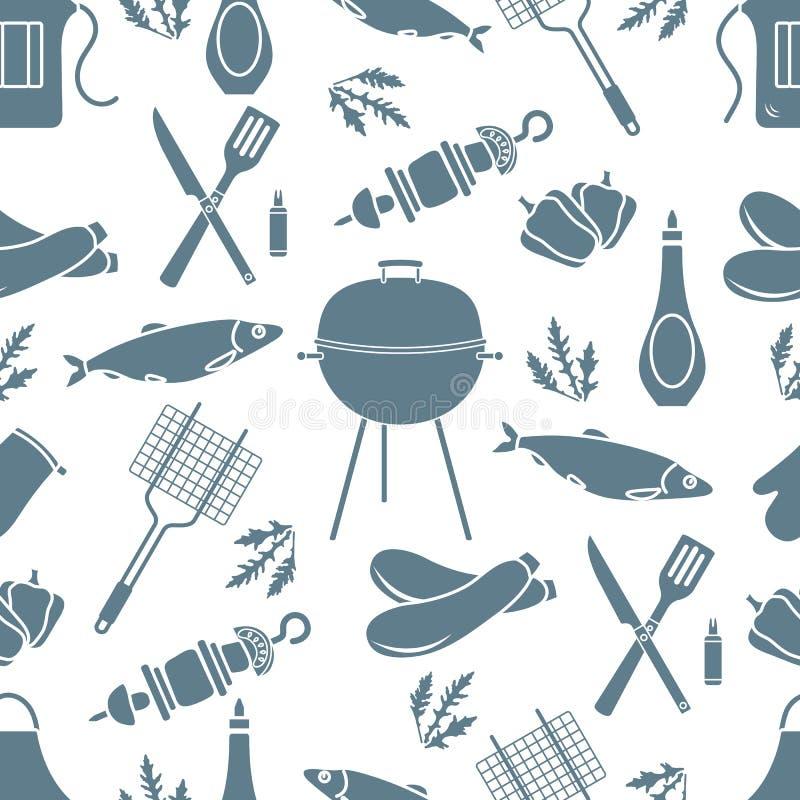 Bezszwowy wz?r z grillem, grill?w narz?dzia BBQ ilustracji