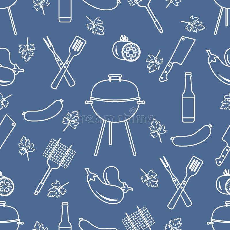 Bezszwowy wz?r z grillem, grill?w narz?dzia BBQ royalty ilustracja