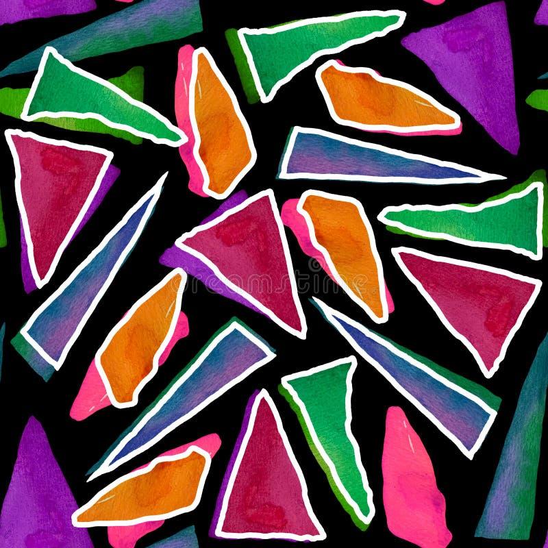 Bezszwowy wz?r z jaskrawymi abstrakcjonistycznymi akwarela tr?jbokami ilustracja wektor