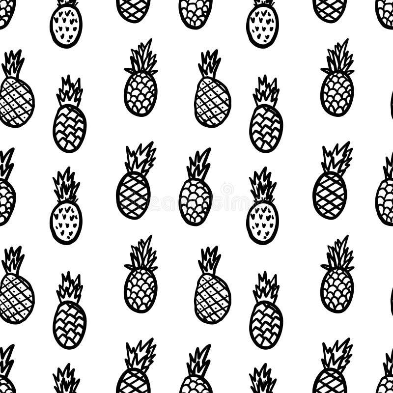 Bezszwowy wz?r z r?ka rysuj?cymi ananasami Projektuje element dla plakata, karta, sztandar, ulotka ilustracji