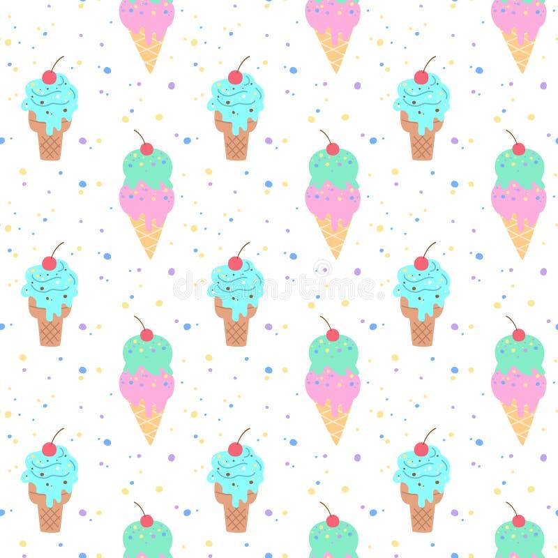 Bezszwowy wz?r z kolorowym lody ilustracja wektor