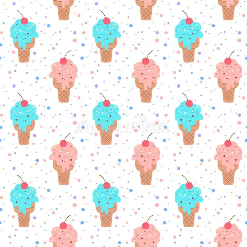 Bezszwowy wz?r z kolorowym lody royalty ilustracja