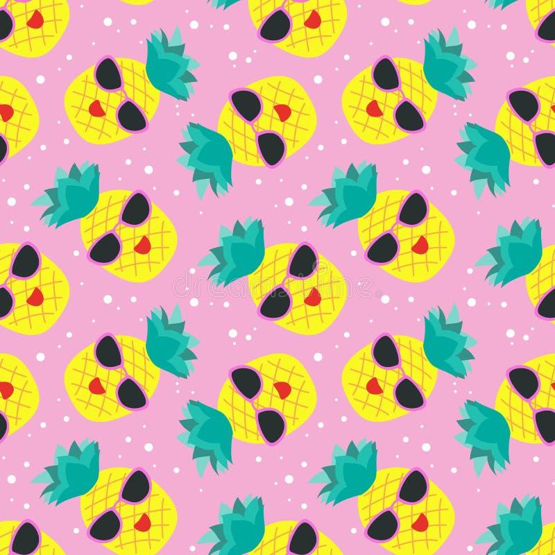 Bezszwowy wz?r z kolorowymi ananasami royalty ilustracja
