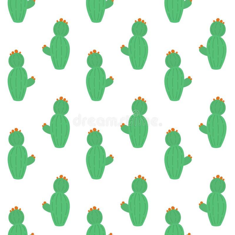 Bezszwowy wz?r z ?licznymi kaktusami ilustracja wektor