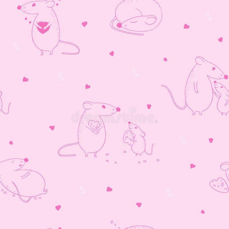Bezszwowy wz?r z mysz? Sylwetki na różowym tle Walentynki s dzie? fotografia stock