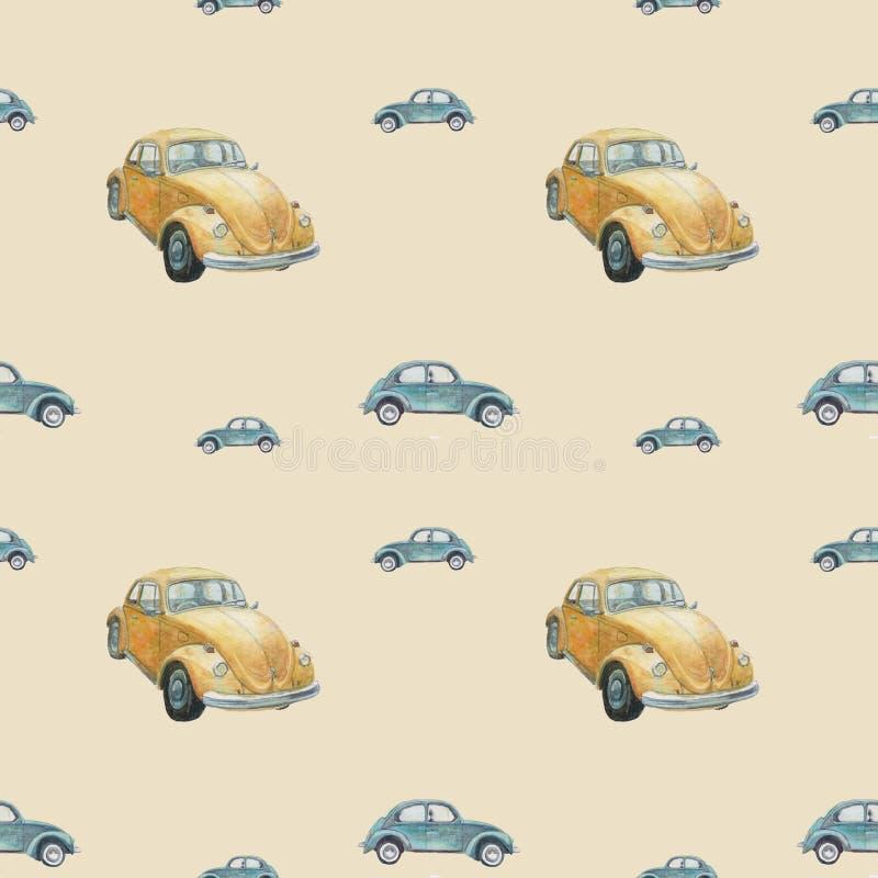 Bezszwowy wz?r z retro samochodami zdjęcie royalty free