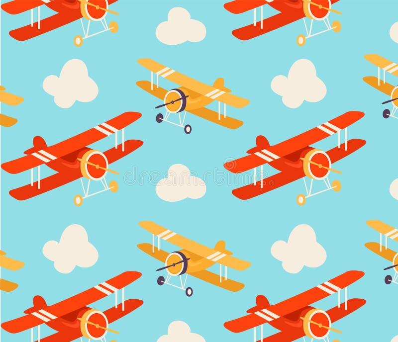 Bezszwowy wz?r z samolotami royalty ilustracja