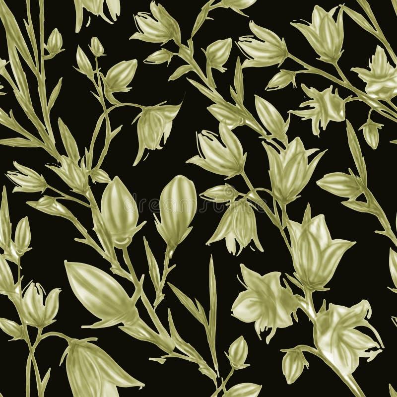Bezszwowy wz?r z wiosna li??mi i kwiatami sporz?dzi? t?a r?ka kwiecisty wz?r dla tapety lub tkaniny rose kwiat royalty ilustracja