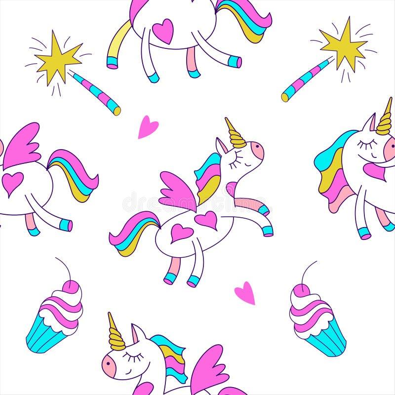 bezszwowy wzoru Śliczna magiczna jednorożec z skrzydłami Magiczne różdżki i torty Dziecka ` s wzór również zwrócić corel ilustrac ilustracji
