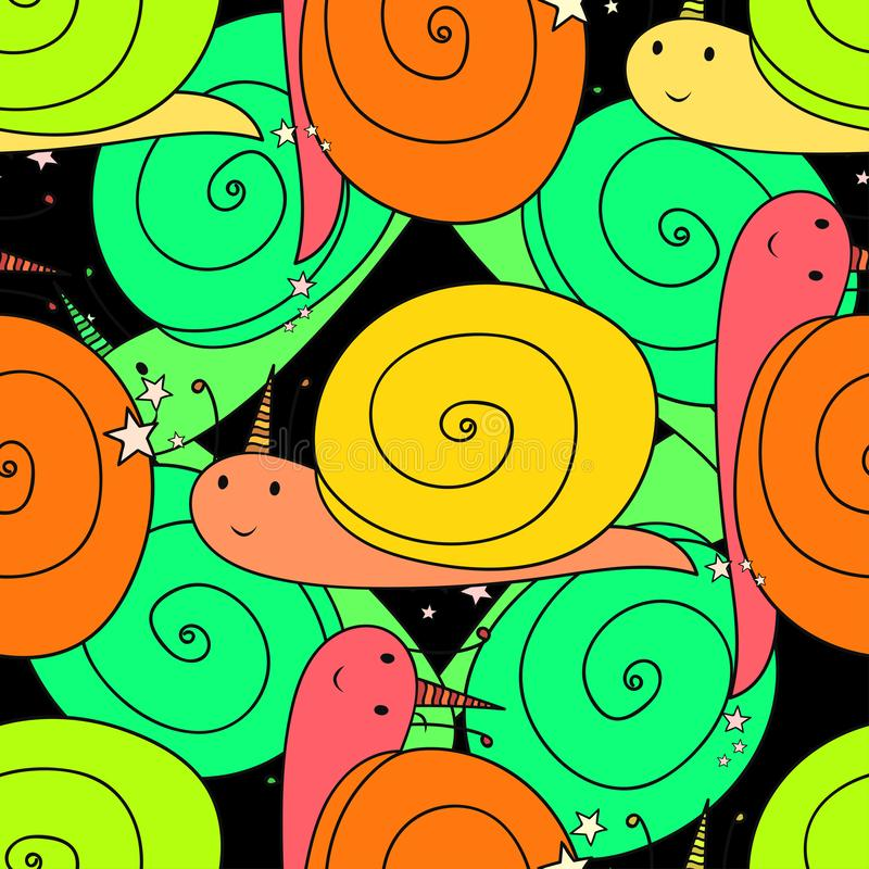 bezszwowy wzoru Ślimaczki z róg postaciami z kreskówki elementy projektu podobieństwo ilustracyjny wektora tło dekoracyjny royalty ilustracja