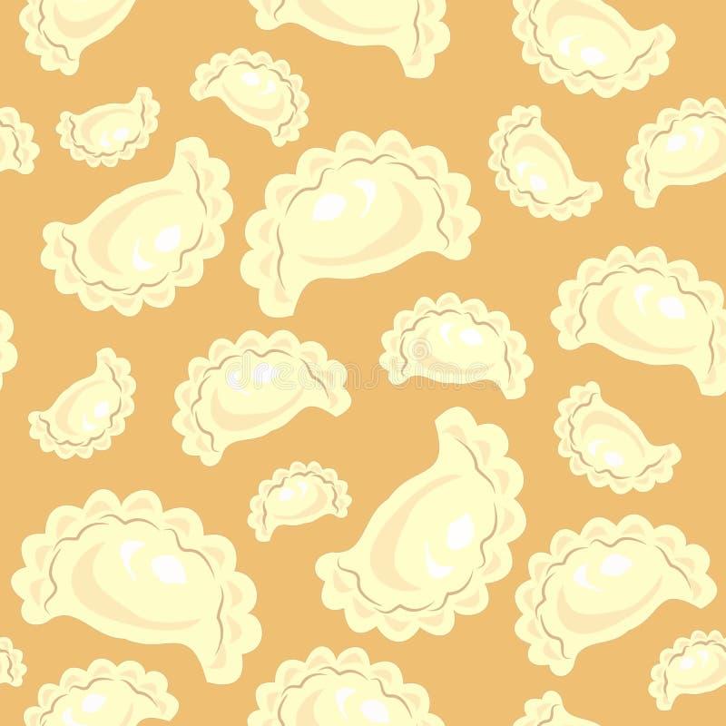 bezszwowy wzoru Świeże wyśmienicie kluchy, varenyki Stosowny jako tapeta w kuchni dla pakować produkty, na przykład, ilustracji