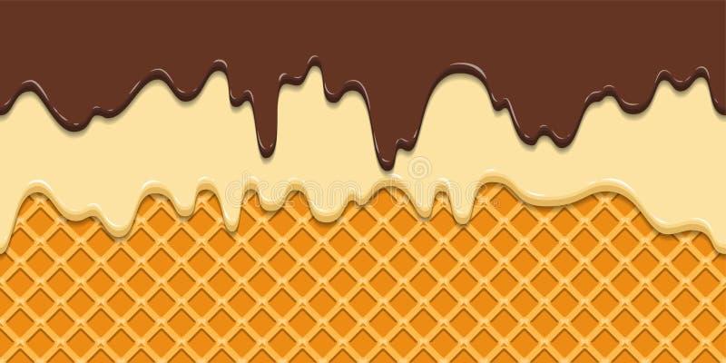 bezszwowy wzoru Aktualny lodowacenie i czekolada na gofr tekstury tle, gofra rożek z lody kreskówka ilustracja wektor