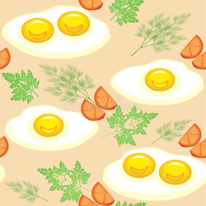 bezszwowy wzoru Apetyczni rozdrapani jajka z pomidorami, koperem i pietruszką, Wy?mienicie i fascie food Stosowny jako tapeta w royalty ilustracja