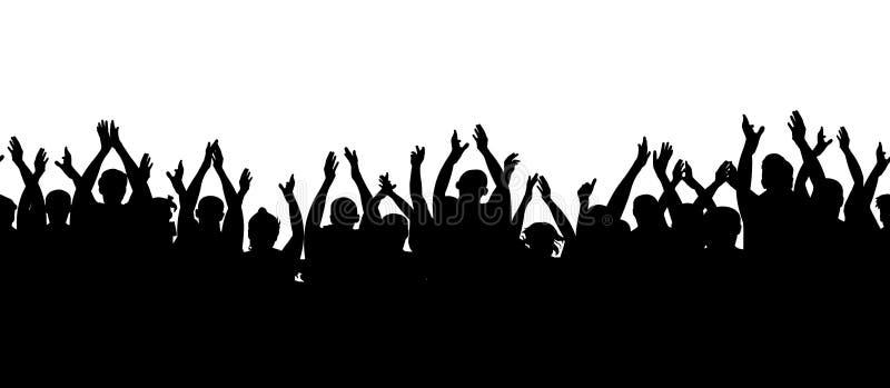 bezszwowy wzoru Aplauz widownia Tłumu rozweselać ludzie ilustracji