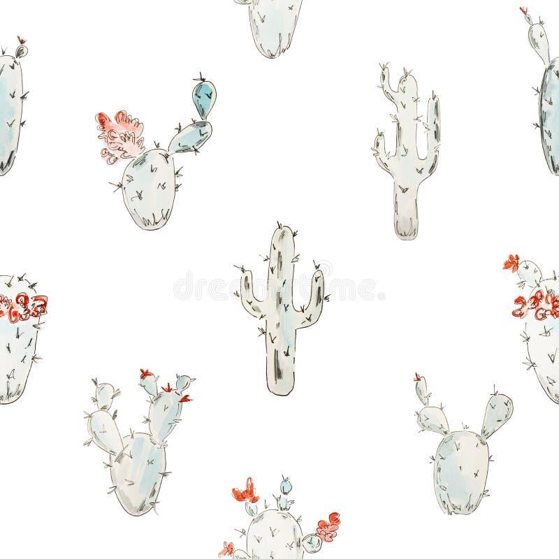 bezszwowy wzoru Błękitny kwitnący akwarela kaktus z czarnym konturem na białym tle royalty ilustracja