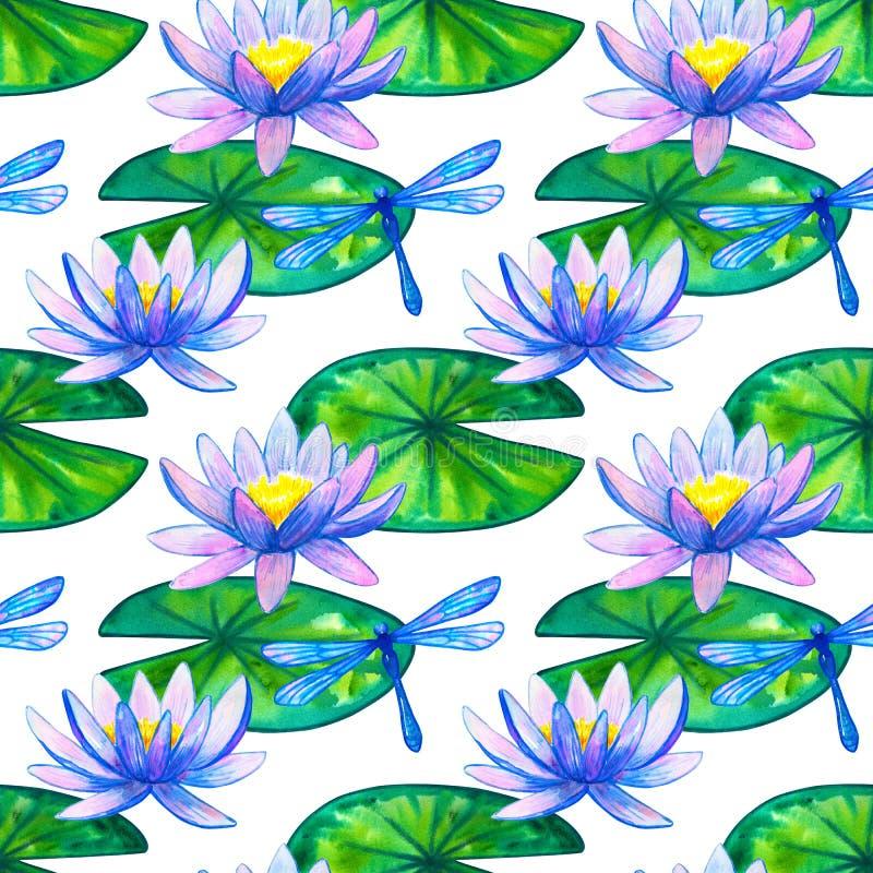 bezszwowy wzoru B??kit r??owe wodne leluje na zieleni dragonfly i li?ciach R?ka rysuj?ca akwareli ilustracja Na bia?ym tle royalty ilustracja