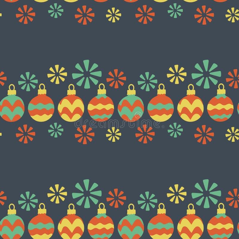 bezszwowy wzoru Bożenarodzeniowa girlanda, Bożenarodzeniowe piłki malował ręcznie, płatek śniegu Wektorowe ilustracje dla kartek  ilustracji