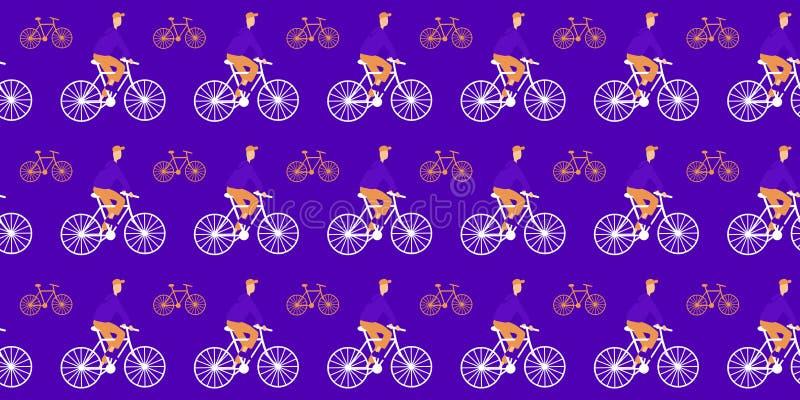 bezszwowy wzoru Cykliści i bicykle na purpurowym tle ilustracji