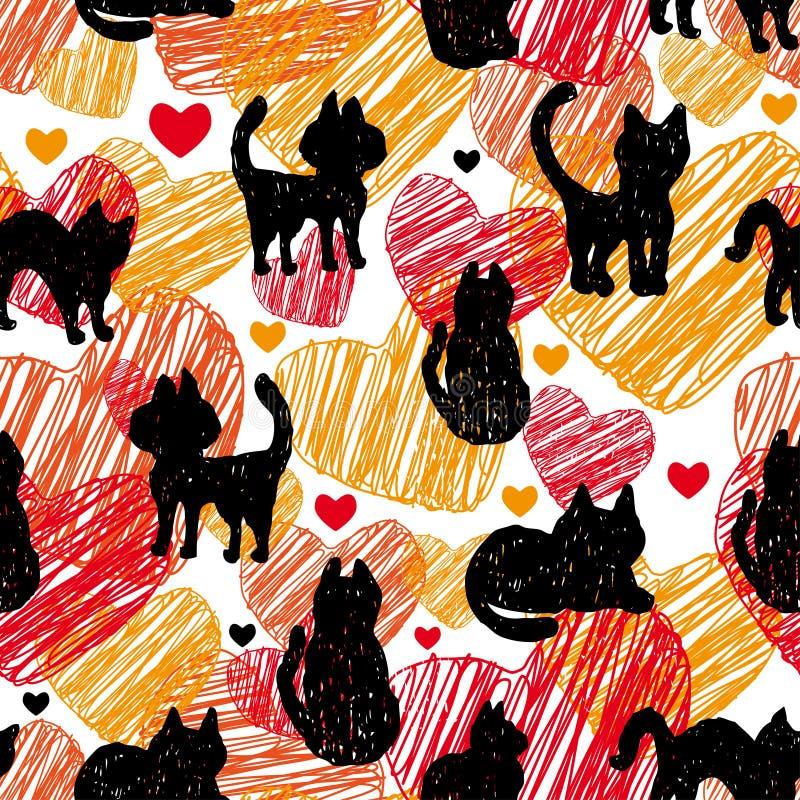 bezszwowy wzoru Czarne sylwetki koty na pomarańczowej czerwieni tle z sercami ilustracja wektor