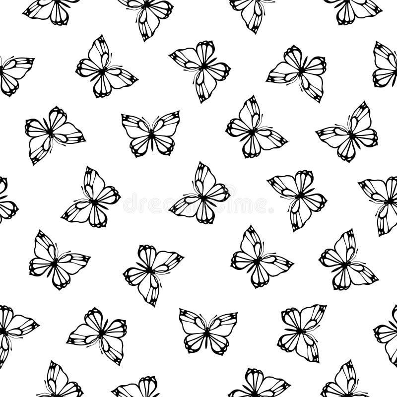bezszwowy wzoru Czerń na białych motylach ilustracji