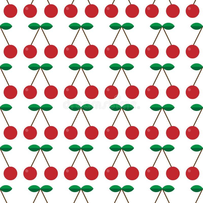 bezszwowy wzoru Czerwone wiśnie z zielonymi liśćmi Czereśniowy sad również zwrócić corel ilustracji wektora Może używać dla tapet ilustracji