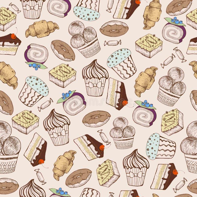 bezszwowy wzoru Dekoracyjni cukierków torty royalty ilustracja