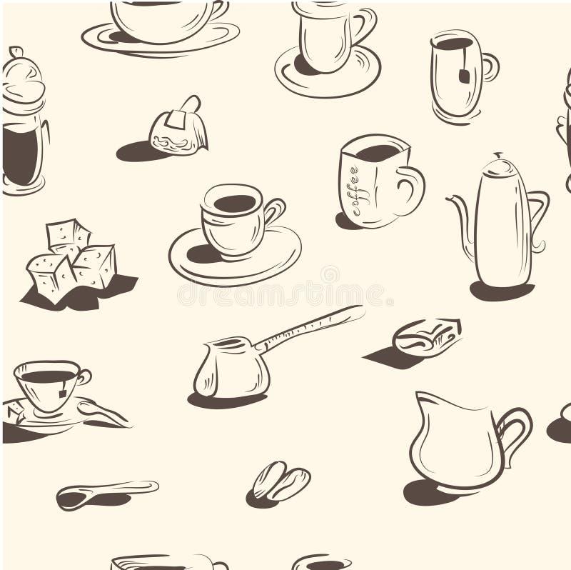 bezszwowy wzoru Doodle kawy set wektor ilustracji