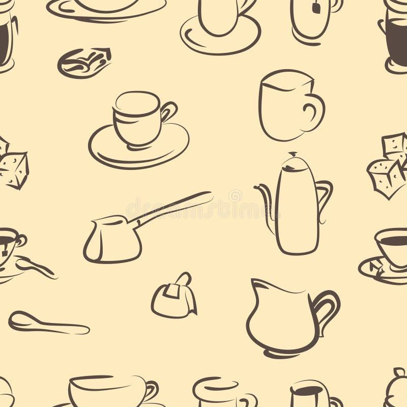 bezszwowy wzoru Doodle kawy set wektor ilustracja wektor