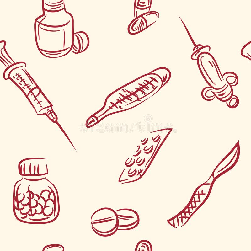 bezszwowy wzoru doodle medyczny set wektor ilustracja wektor