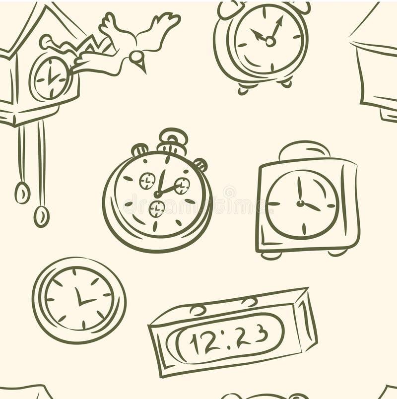 bezszwowy wzoru doodle zegary ustawiający wektor royalty ilustracja