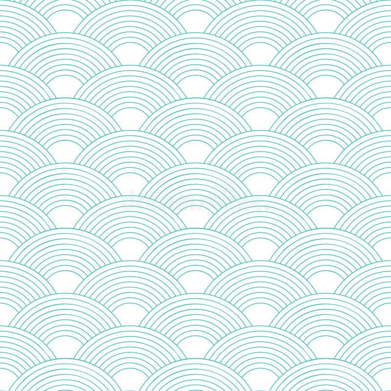 bezszwowy wzoru fala Rybi waży teksturę również zwrócić corel ilustracji wektora Scrapbook, prezenta opakunkowy papier, tkaniny ilustracji