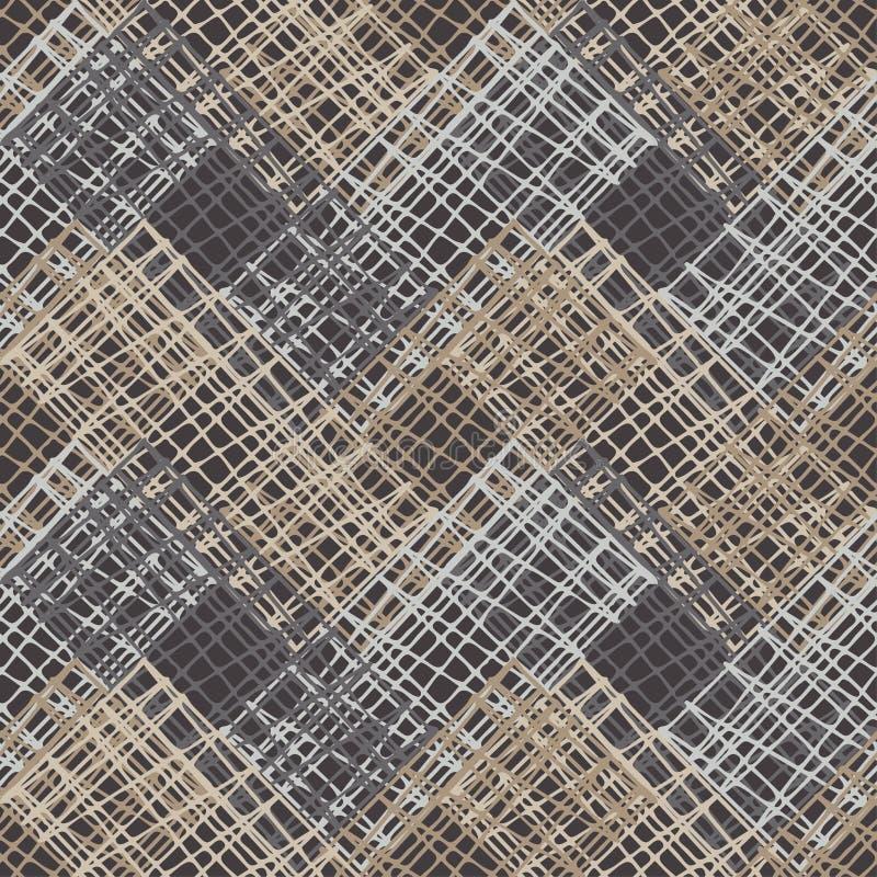 bezszwowy wzoru geometrycznego Brown podłoga z drewnianą teksturą azjata mata ilustracja wektor