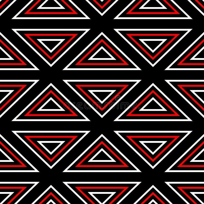 bezszwowy wzoru geometrycznego Czarny czerwony biały tło royalty ilustracja