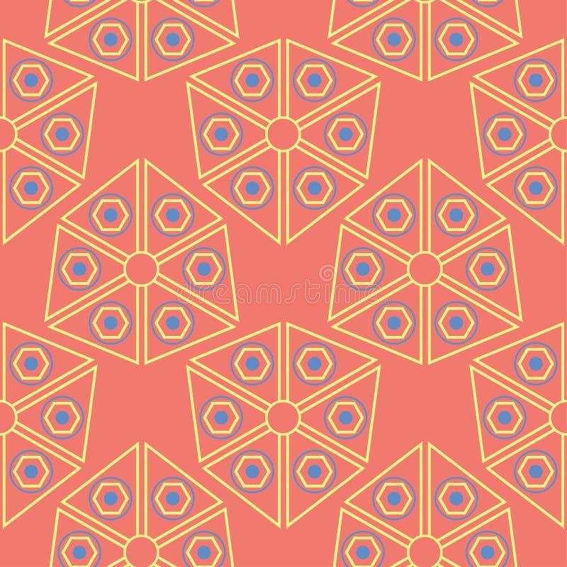 bezszwowy wzoru geometrycznego Jaskrawy czerwony tło z błękitem i żółtym projektem royalty ilustracja