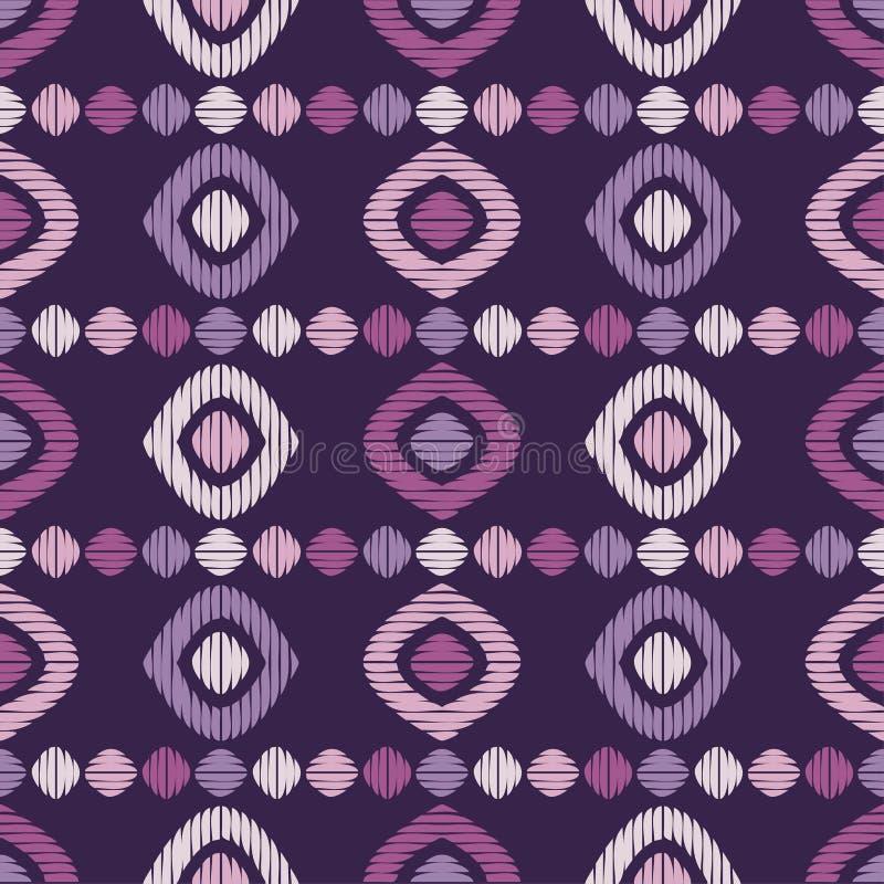 bezszwowy wzoru geometrycznego Tekstura komórki i paski Skrobaniny tekstura ilustracji