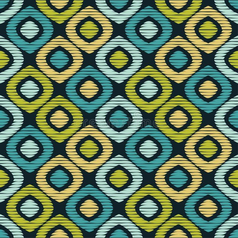 bezszwowy wzoru geometrycznego Tekstura komórki i paski Skrobaniny tekstura royalty ilustracja