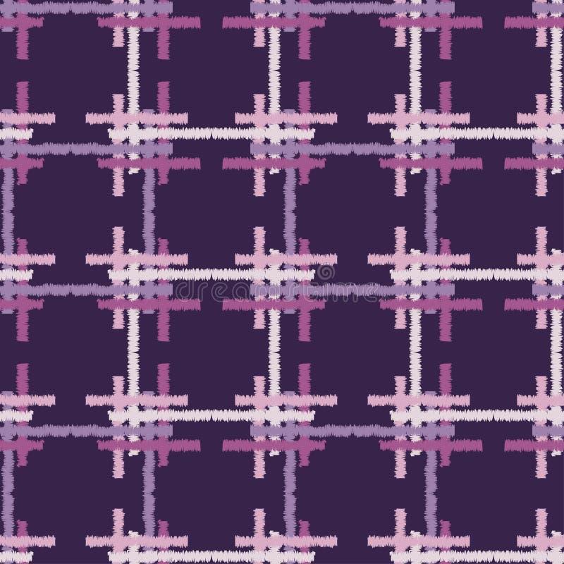 bezszwowy wzoru geometrycznego Tekstura komórki i paski Skrobaniny tekstura ilustracja wektor