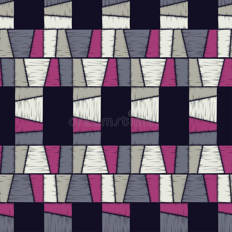 bezszwowy wzoru geometrycznego Tekstura paski Skrobaniny tekstura ilustracja wektor