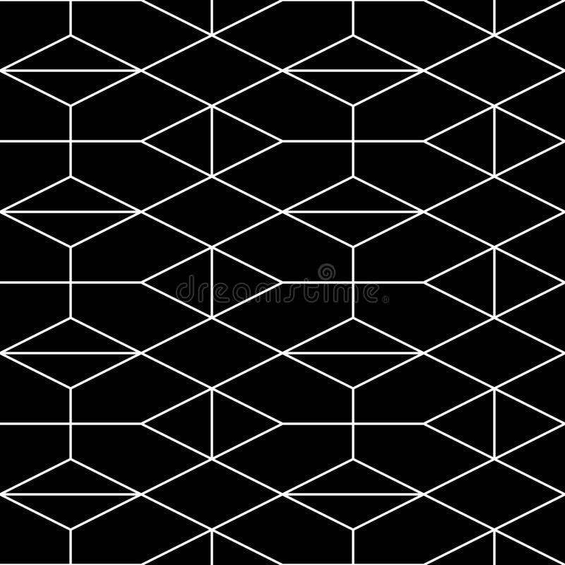 bezszwowy wzoru geometrycznego Wektorowy abstrakcjonistyczny klasyczny tło w czarny i biały kolorze royalty ilustracja