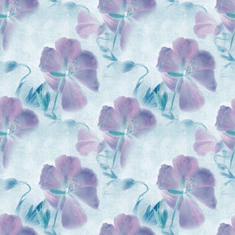 bezszwowy wzoru Grungy retro tło z kwiatami ilustracja wektor