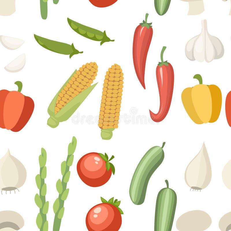 bezszwowy wzoru Jarzynowa inkasowa ikona Set pieprz, czosnek, kukurudza, zielony groch i etc, Rolnictwa i jedzenia ikony projekt ilustracja wektor