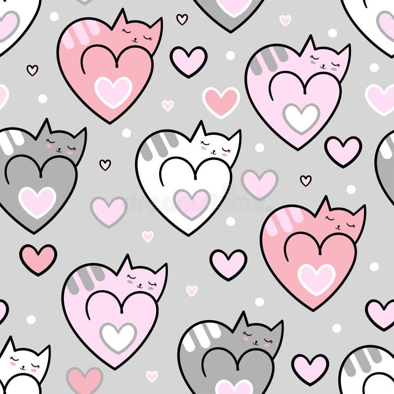 bezszwowy wzoru Kotów serca na popielatym tle wektor ilustracji