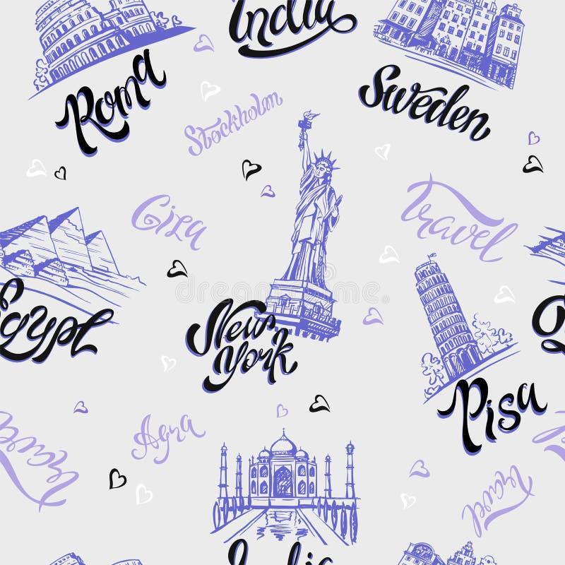 bezszwowy wzoru Kraje i miasta literowanie nakreślenia landmarks Podróż Włochy, Rzym, Ameryka, Szwecja, India, Egipt wektor ilustracji