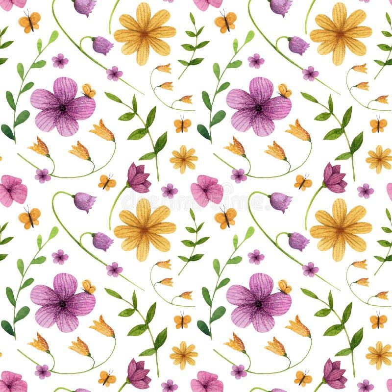 bezszwowy wzoru Kwiaty z liśćmi, motyl ilustracja wektor