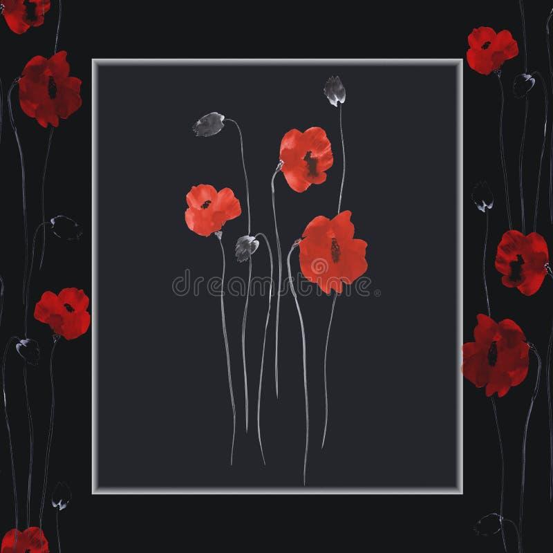 bezszwowy wzoru Kwiecista dekoracja Czerwoni kwiaty maczki na czarnym tle akwarela ilustracja wektor